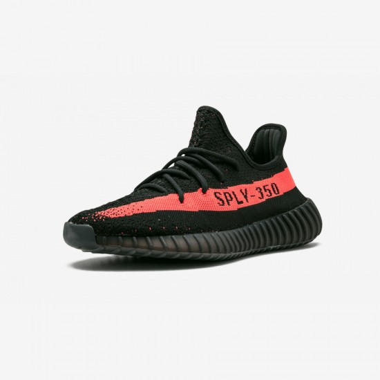 """Adidas Yeezy Boost 350 V2 """"Red"""" BY9612 Black Cblack/Red/Cblack Casual Shoes"""
