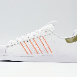 Superstar 50 Adidas 2020 White Green Orange Unisex Casual Shoes FW2857
