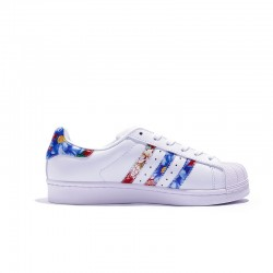 Adidas Superstar Unisex White Black Blue Casual Shoes BB0532