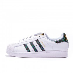 Adidas Superstar Unisex White Black Gold Green Casual Shoes CP9388