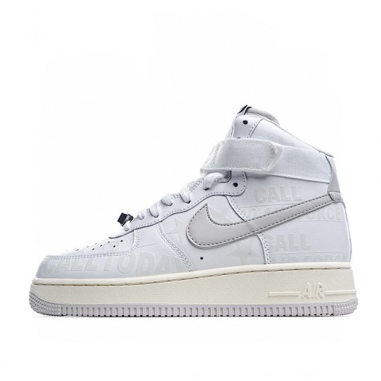 Nike Air Force 1 High White Silver Premium Toll Free CU1414-100 Sneakers