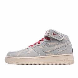 Nike Air Force 1 Mid Beige Red Grey 651122-125 Sneakers