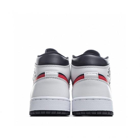 Air Jordan 1 Mid Black Chile Red White 554724-075 AJ1 Jordan Sneakers