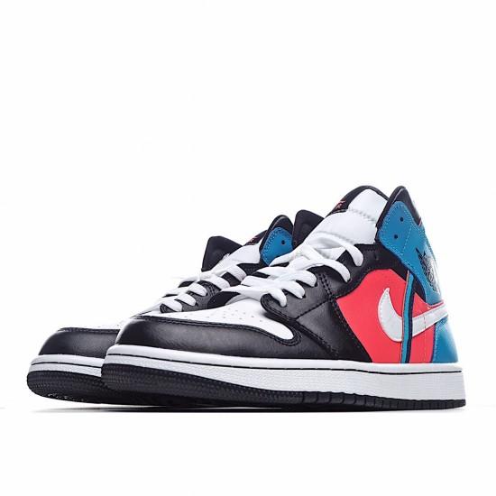 Air Jordan 1 Mid Black White Red Blue CV4891-001 AJ1 Jordan Sneakers