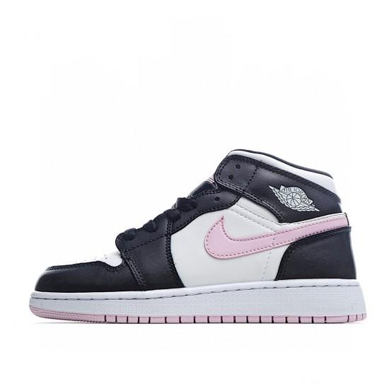 Air Jordan 1 Mid White Black Light Arctic Pink 555112-103 AJ1 Jordan Sneakers