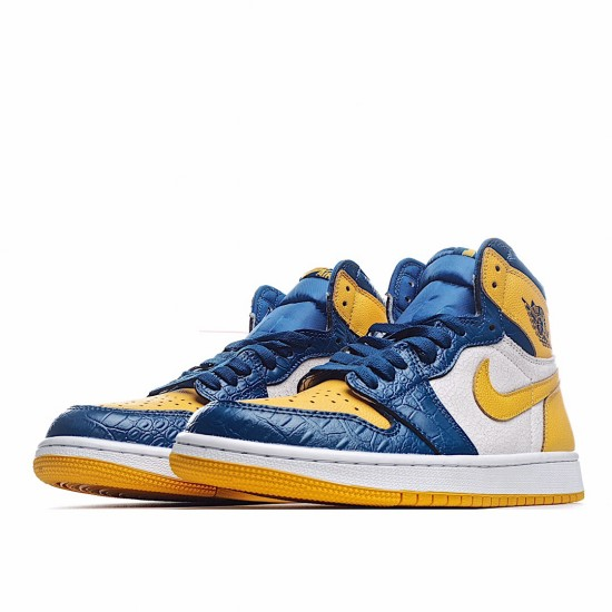 Air Jordan 1 Mid White Yellow Blue CZ6909-100 AJ1 Jordan Sneakers