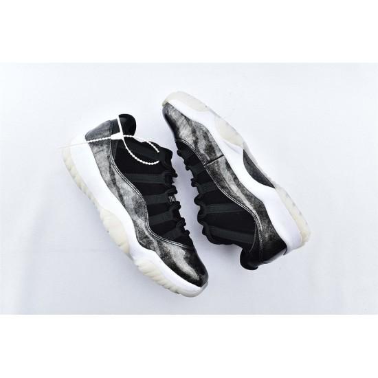 AJ11 Low Nike Air Jordan 11 Black Silver Mens Basketbll Shoes 528895-010