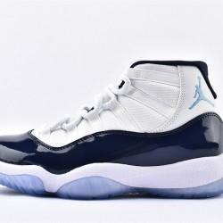 AJ11 Mid Nike Air Jordan 11 Mens White Blue Basketbll Shoes 378037-123