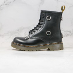 2020 Fashion Dr.martens Eight Holes In The Middle Buckle Black Ankle Boots