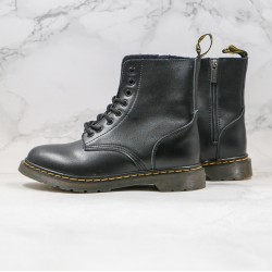 2020 Fashion Dr.martens Eight Holes Zipper Soft Leather High Top 1462s Black Ankle Boots
