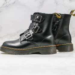 2020 Fashion Dr.martens Hard Leather Three Breasted High Top Black Ankle Boots