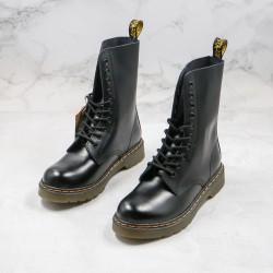 2020 Fashion Dr.martens Ten Holes Hard Skin High Top Black Ankle Boots