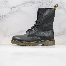2020 Fashion Dr.martens Ten Holes Lychee Skin Soft Skin High Top Black Ankle Boots