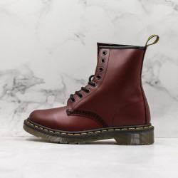 2020 Fashion Dr.martens 1460 Series 8 Hole High Top J11-5 Wine Red Ankle Boots