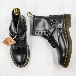 2020 Fashion Dr.martens 8 Holes Hard Leather High Top K20 Black Ankle Boots