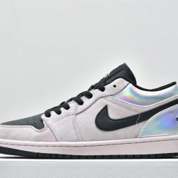 2020 Nike Air Jordan 1 Low Dirty Powder Iridescent Grey Black Basketball Shoes