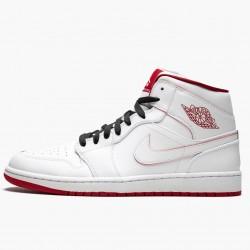 2020 Nike Air Jordan 1 Mid BG White Gym Red Basketball Shoes 554725 103 AJ1 Womens Sneakers