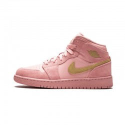 2020 Nike Air Jordan 1 Mid Coral Gold Pink Basketball Shoes 852542 600 Womens AJ1 Sneakers