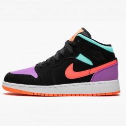 2020 Nike Air Jordan 1 Mid GS Candy Basketball Shoes 554725 083 Unisex AJ1 Black Purple Sneakers