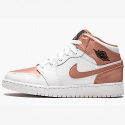 2020 Nike Air Jordan 1 Mid Rose Gold Womens 555112 190 White Gold AJ1 Sneakers