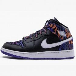 2020 Nike Air Jordan 1 MID SE (GS) Tiger Print Basketball Shoes AV5174 005 Unisex AJ1 White Black Sneakers