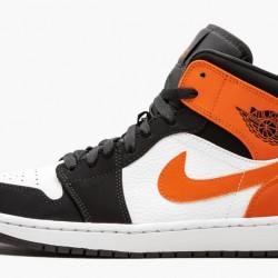 2020 Nike Air Jordan 1 Mid Shattered Backboard Orange White Black Sneakers 554724 058 Unisex AJ1 Basketabll Shoes