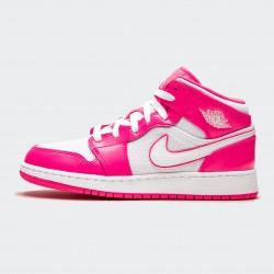 2020 Nike Air Jordan 1 Mid Sneakers Pink Gray Womens AJ1 Basketball Shoes 555112 611
