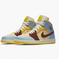 2020 Maison Chateau x Nike Air Jordan 1 Mid Fearless Basketball Shoes Unisex CU2803 200 AJ1 Sneakers