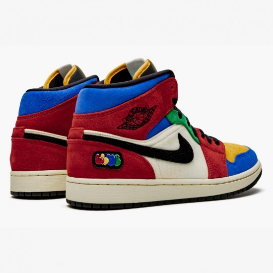 2020 Nike Air Jordan 1 Mid Blue The Great Fearless Red White Blue Sneakers CU2805 100 Unisex Basketball Shoes