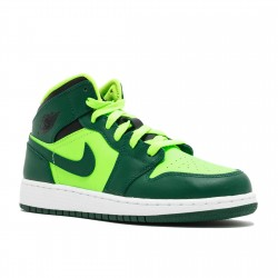 2020 Nike Air Jordan 1 Mid GS Gorge Green Basketball Shoes 554725 330 Unisex AJ1 Sneakers