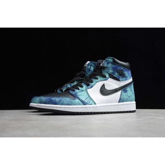 2020 Nike Air Jordan 1 Tie Dye AJ1 Basketball Shoes CD0461 100 Blue Unisex Sneakers