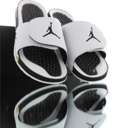 2020 Air Jordan HYDRO V White Black Yellow Unisex Sandals