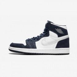 "Air Jordan 1 (2001 Addition) ""2001 Addition"" 136060 101 Navy White/Metallic Silver-Mnnavy Basketball Shoes"
