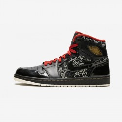 Air Jordan 1 High HOF 371498 012 Black Black/Vrsty Red-Wht-Mtllc Gld Basketball Shoes