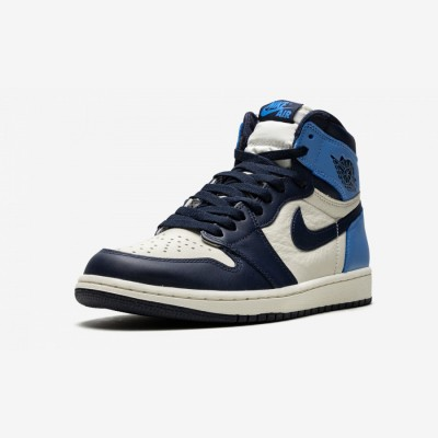"Air Jordan 1 High OG ""Obsidian/University Blue"" 555088 140 Sail/Obsidian-University Blue Basketball Shoes"