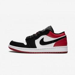 "Air Jordan 1 Low ""Black Toe"" 553558 116 Black White/Black-Gym Red Basketball Shoes"