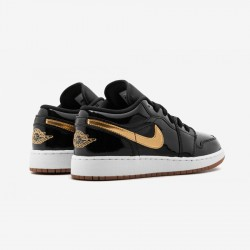 Air Jordan 1 Low GG 554723 032 Black Leather And Rubber Black/Metallic Gold-White Basketball Shoes