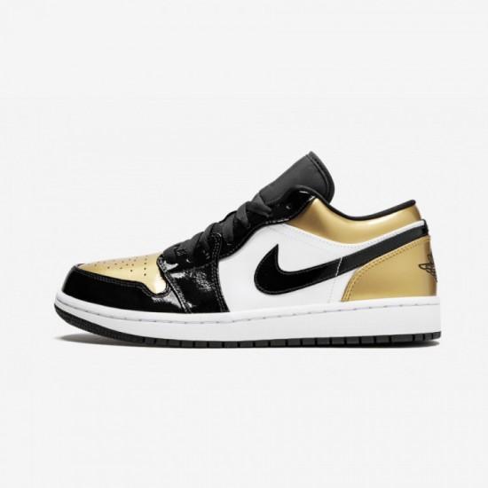 "Air Jordan 1 Low ""Gold Toe"" CQ9447 700 Black Black/Gold-Black Basketball Shoes"