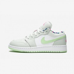 Air Jordan 1 Low (GS) 554723 051 Green Barely Grey/Frosted Spruce Basketball Shoes