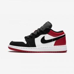 "Air Jordan 1 Low GS ""Black Toe"" 553560 116 Black White/Black-Gym Red Basketball Shoes"