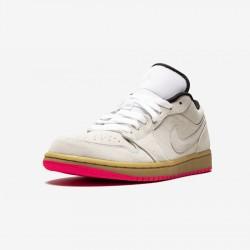 "Air Jordan 1 Low ""Hyper Pink"" 553558 119 Beige White/White-Gum Yellow Basketball Shoes"