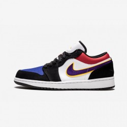 "Air Jordan 1 Low ""Laker's Top 3"" CJ9216 051 Multicolore Black/Field Purple-White Basketball Shoes"