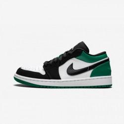 "Air Jordan 1 Low ""Mystic Green"" 553558 113 Black White/Black-Mystic Green Basketball Shoes"