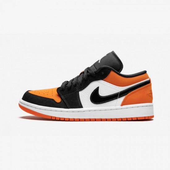 "Air Jordan 1 Low ""Shattered Backboard"" 553558 128 Black Black/White-Starfish Basketball Shoes"