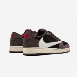 "Air Jordan 1 Low ""Travis Scott"" CQ4277 001 Black Black/Sail-Dark Mocha/Universi Basketball Shoes"