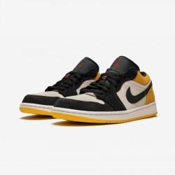 "Air Jordan 1 Low ""University Gold"" 553558 127 Black Sail/Gym Red-University Gold Basketball Shoes"