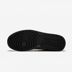 Air Jordan 1 Mid 554724 062 Black Black/Cone-Light Bone Basketball Shoes