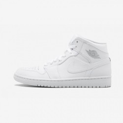 Air Jordan 1 Mid 554724 104 White Leather White/Pure Platnium-Whte Basketball Shoes