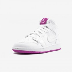 Air Jordan 1 Mid 555112 100 Viola White/White/Fuchsiablast Basketball Shoes