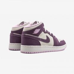 Air Jordan 1 Mid (GS) 555112 500 Beige Propurple/Desertsand Basketball Shoes